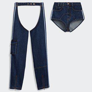 NWT Adidas x Ivy Park Dark Denim Chaps w/ Shorts